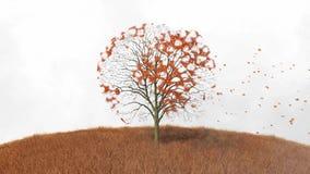 Världskarta på ett träd, fallande sidor vektor illustrationer