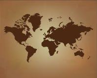 Världskarta på gammal pappers- textur vektor illustrationer