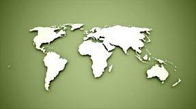 Världskarta på gräsplan royaltyfri illustrationer