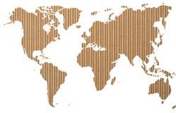 Världskarta på korrugerat papper Fotografering för Bildbyråer