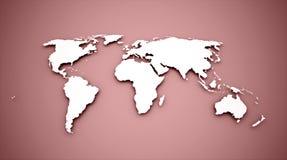 Världskarta på rött vektor illustrationer