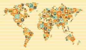 Världskarta: samkväm och massmediasymboler Arkivfoton
