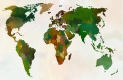 Världskarta - skog, grön kamouflagemodell Arkivfoto