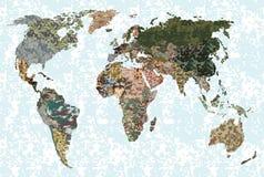 Världskarta - skog, grön kamouflagemodell Arkivbild