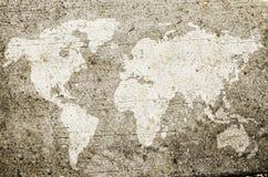 Världskarta som dras på väggen royaltyfri bild