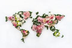 Världskarta som göras av blommor arkivfoto