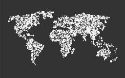 Världskarta som göras av vitprickar på en svart Arkivfoton