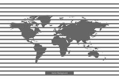 Världskarta som isoleras på vit bakgrund Vektormall för websiten, design, räkning, årsrapporter, infographics Linjer på mellanrum Royaltyfria Foton
