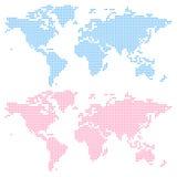 Världskarta som skapas från (övre) cirklar, och (lägre) fyrkanter, royaltyfri illustrationer