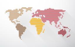 Världskarta som skapas från linjer Arkivbild