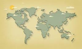 Världskarta (tappningsamkopiering) Arkivbild