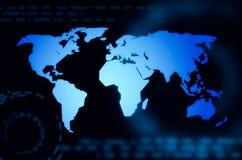 Världskartaaktiemarknadbakgrund Royaltyfri Fotografi