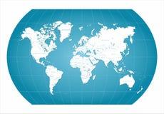 Världskartablått Arkivfoto