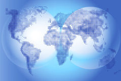 Världskartaillustration på blå bakgrund, geografi Kontinenter och världshav Arkivbild