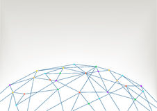 Världskartaillustrationbakgrund med polygoner och linjer som förbinder folk, apparater, städer, anmärker royaltyfri illustrationer