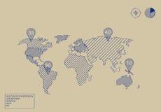Världskartaillustrationen klottrar Fotografering för Bildbyråer