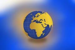 Världskartajordklot i blå bakgrund -21 JULI 2017 stock illustrationer