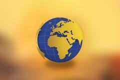 Världskartajordklot i guld- bakgrund -21 JULI 2017 stock illustrationer