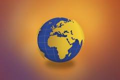 Världskartajordklot i guld- bakgrund -21 JULI 2017 vektor illustrationer