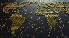 Världskartakontur som göras av guld- nummer Modern digital teknologi, ekonomisk globalisering eller världsomspännande dataöverför Arkivfoton