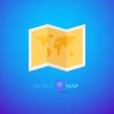 Världskartalogo med pekaren Arkivfoton