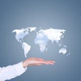 Världskartamolnform som förestående svävar Arkivfoton