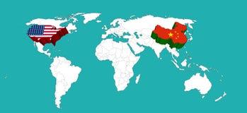 Världskartan dekorerade USA vid USA flagen och Kina vid den Kina flagen /Elements av denna bild som möblerades av NASA Arkivbilder