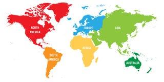 Världskartan delade in i sex kontinenter Varje kontinent i olik färg Enkel plan vektorillustration vektor illustrationer