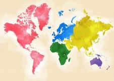 Världskartan den drog handen, värld delade in i kontinenter Royaltyfria Bilder