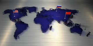 världskartan för tolkningen 3d gjorde av exponeringsglas med flaggor av Amerika, Kina och Ryssland stock illustrationer