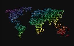 Världskartan gjorde upp ‹för †av små regnbågeprickar Arkivfoto