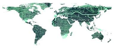 Världskartan med modellen för strömkretsbrädet isolerade vektor illustrationer