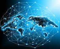 Världskartan på en teknologisk bakgrund som glöder fodrar symboler av internet, radion, televisionen, mobilen och satelliten vektor illustrationer