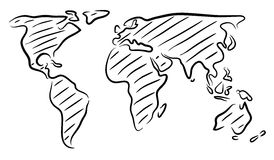 Världskartan skissar Fotografering för Bildbyråer