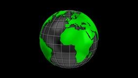 Världskartan vänder in i ett jordklot stock video