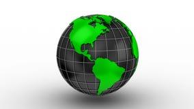 Världskartan vänder in i ett jordklot arkivfilmer