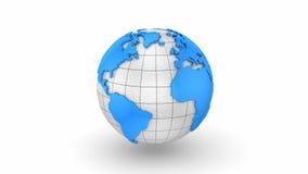 Världskartan vänder in i ett jordklot stock illustrationer