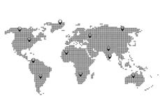 Världskartapricksikt vektor illustrationer