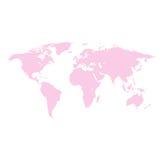 Världskartarosa färger som färgas på en vit bakgrund Royaltyfri Bild