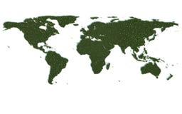 Världskartaseriesymboler ut ur realistiskt gräs Royaltyfri Fotografi