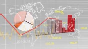 Världskartastatistikdata Graph röd bakgrund för finans 3D vektor illustrationer
