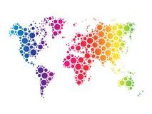 Världskartatapetmosaiken av prickar i regnbågespektrum färgar på vit bakgrund också vektor för coreldrawillustration vektor illustrationer