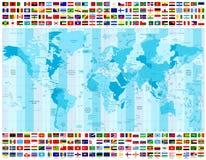 Världskartatidszoner och all världsflaggasamling royaltyfri illustrationer