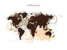 Världskartavattenfärg, vektorillustration Royaltyfri Fotografi