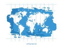 Världskartavattenfärg, vektorillustration Arkivbilder