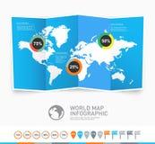 Världskartavektor med infographic beståndsdelar Arkivbild