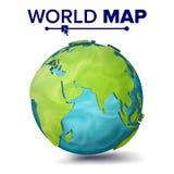 Världskartavektor sfär för planet 3d Jord med kontinenter Eurasia Australien, Afrika illustration Arkivbild