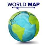 Världskartavektor sfär för planet 3d Jord med kontinenter Nordamerika Sydamerika, Afrika, Europa Royaltyfri Fotografi