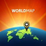 Världskartavektorillustration, infographic designmall Royaltyfria Bilder