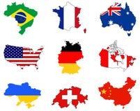 Världskartor och flaggor - länder i världen Arkivbild